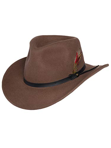 (Men's Outback Wool Cowboy Hat Montana Pecan Brown Crushable Western Felt by Silver Canyon, Pecan, Small)