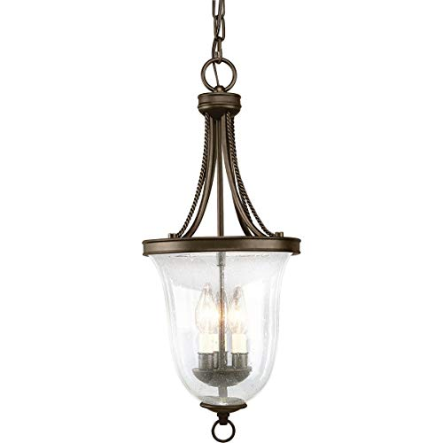 Progress Lighting P3753-20 Traditional Three Light Foyer Pendant from Seeded Glass Collection Dark Finish, Antique Bronze (Bronze 7 Light Chandelier)