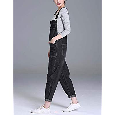 Soojun Women's Casual Baggy Denim Bib Overall: Clothing