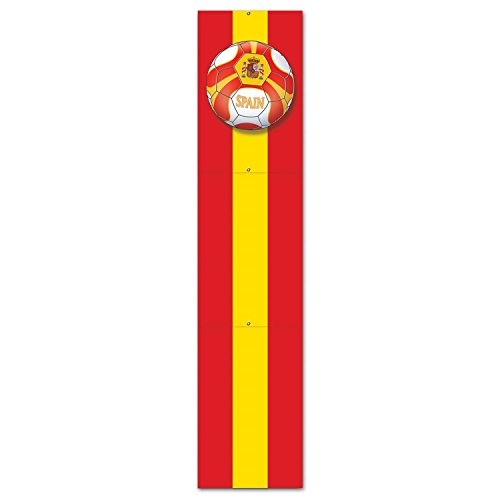 Club Pack of 12 Yellow and Red ''Spain'' Soccer Themed Jointed Pull-Down Cutout Decorations 5' by Party Central