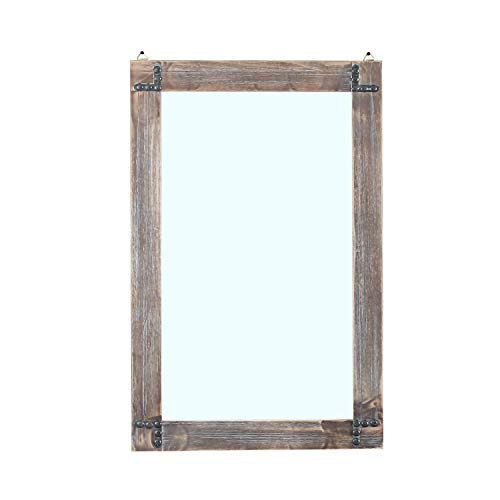 MBQQ Rustic Flat Wood Frame Hanging Wall Mirror Decorative Bathroom Mirrors for -