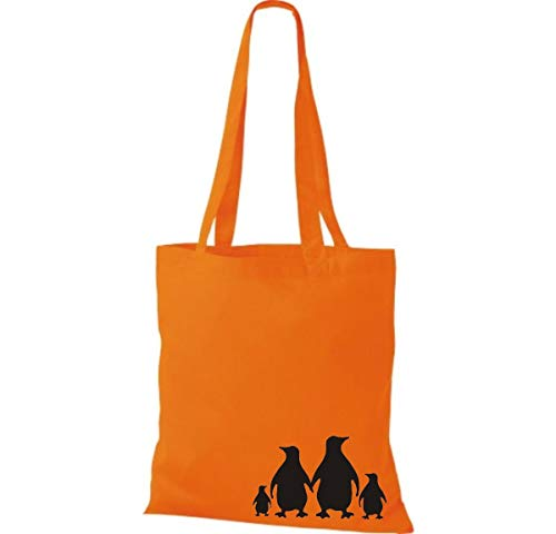 De Tela Pingüinos Animales Bolso Naranja Bolsa Algodón Shirtinstyle Lustige 1wRg5axq