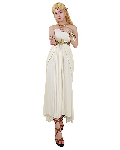 Miccostumes Women's Zelda Wild Breath Princess Zelda White Strapless Empire Chiffon Dress Cosplay Costume (Princess Zelda Costumes For Adults)