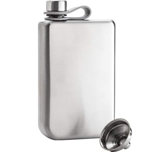 Liquor Whiskey (8oz Hip Flask & Funnel Set Stainless Steel Pocket Container for Drinking Liquor e.g. Whiskey, Rum, Scotch, Vodka   Rust & Leak Proof Discreet Alcohol Canteen, can be Engraved)