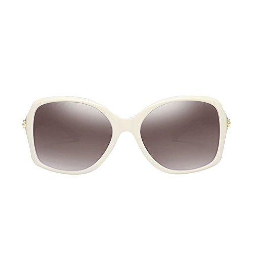 5 DT Gafas Gafas Redonda Protección de la de Sol de Las Moda la Grandes de Cara UV grabadas de polarizadas Sol Color Vintage 4 Mujeres SSrwq8