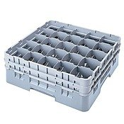 Cambro 25S418-151 4-1/2-Inch Camrack Plastic Stemware and Tumbler Glass Rack with 25 Compartments, Full, Soft Gray ()
