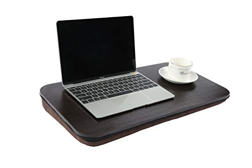 Homebi Lap Desk Knee Laptop Table Wood Book Stand Lightweight Food Serving Tray Perfect for Bed Couch Chair and Sofa with Foam-Cushioned Bottom and Built-in Handle in Black Oak,22.05''Wx12''Dx2.76''H by HOME BI