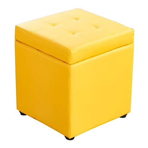 LSXIAO Pouffes and Footstools Storage Stool Square Structure Solid Wood Frame Stable Support PU Fabric Waterproof Breathable, 10 Colors (Color : Yellow, Size : 30x30x35cm)