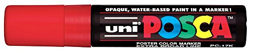 Uni-posca Paint Marker Pen, Extra-Broad Point, Red, 1-Count