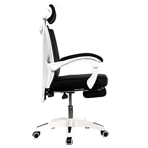 Datorstol bekväm hem studenter sittande nät tyg stol kan lyfta kontorsstolar (färg: Svart med fotstöd) Vit med fotstöd