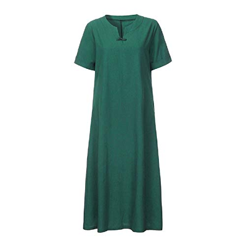 FAPIZI Womens Plus Size Maxi Dress Linen Tunic Dress V-Neck Short Sleeve Sundresses Summer Daily Pullover Dress Green ()