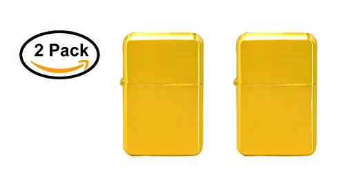 Thirsty Rhino Klik, Windproof Refillable Oil Wick Lighter with Vintage Flip Top and Aluminum Gift Case, Set of 2 (Gold)