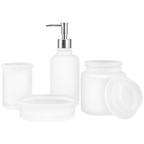 4-Piece Housewares Clear Glass Bathroom Accessories Set, Complete Bath Ensemble Sets for Bathroom Decor Includes Soap Dispenser Pump, Toothbrush Holder, Tumbler, Soap Dish, Bath Set Collection (White) ()
