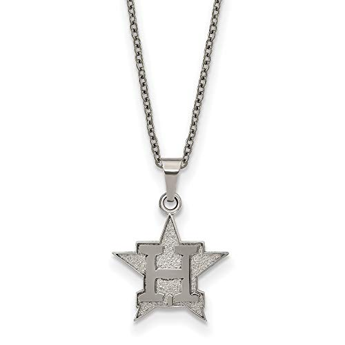 MLB Houston Astros Stainless Steel Houston Astros Pendant on chain with 2 in ext Necklace Size One Size