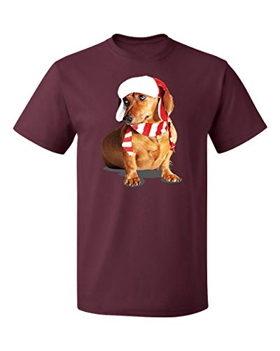 Falcon's Shop Happy New Year Cute Brown Weiner Dog Costume Men's T-Shirts Crew Neck Tee Shirts for Men(Maroon,Medium)