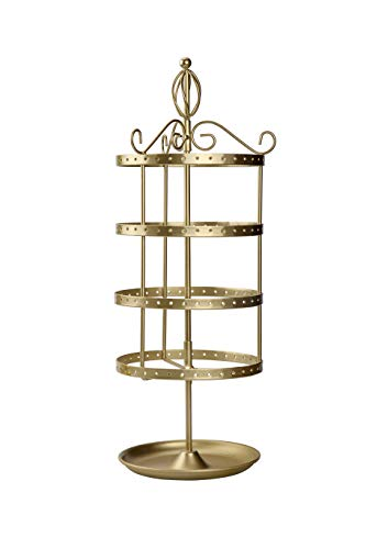 AmigasHome Classic 4 Tier Heavy Duty Metal Made Rotating Tabletop Bracelet Necklace Jewelry Display Organizer Rack Tower - Gold (Tiffany Gold Brooch)