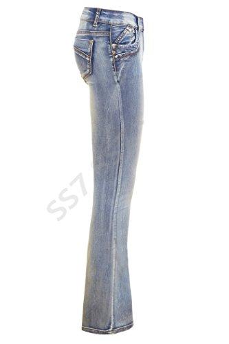 Bootcut 6 Sizes Women's to 16 Kiss Stonewash SS7 Blue Blue Jeans Stonewash cSafwRcBq1