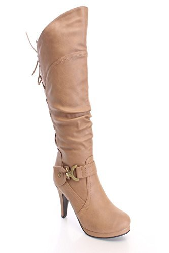 (TOP Moda Womens Page-65 Knee High Round Toe Lace-Up Slouched High Heel Boots,Taupe,10)