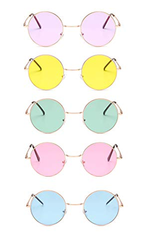 Penta Angel 5Pcs Colored Round Retro Hippie Sunglasses Vintage 60's 70's Style John Lennon Circle Glasses for Men Women Kids Party Favors Dressing Costume Accessory -