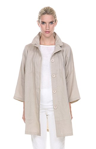 Terra-Sj Apparel Women's Long Linen Jacket Small Taupe