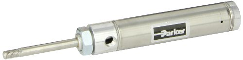 Single Spring Acting - Parker 1.06RSR02.0 Stainless Steel Air Cylinder, Round Body, Single Acting, Spring Extend, Nose Mount, Non-cushioned, 1-1/16 inches Bore, 2 inches Stroke, 5/16 inches Rod OD, 1/8