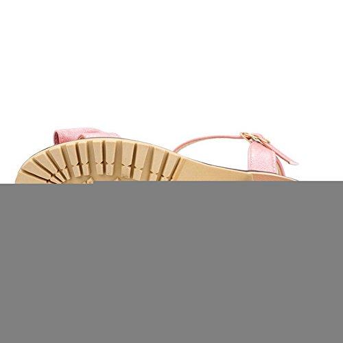 Odomolor Mujeres Puntera Abierta Hebilla Sólido Tacón Medio Sandalias de vestir Rosa