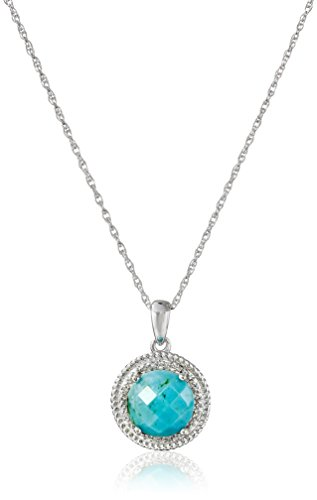 Sterling Silver Turquoise and Diamond Accent Rope Pendant Necklace, (Sterling Silver Turquoise Accent)