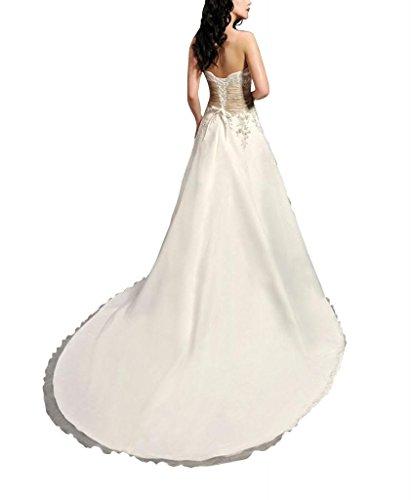 Mieder Satin Weiß Organza Brautkleider Zug ueber Kapelle Embrodiery Traegerloses GEORGE BRIDE Hochzeitskleider PYEqwUx1