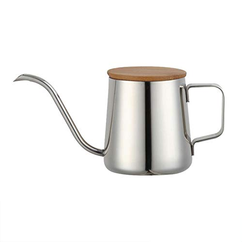 - yanQxIzbiu Long Narrow Spout Coffee Pot, Stainless Steel Spout Coffee Pot with Wood Lid, Pour Over Gooseneck Kettle with Handle for Coffee & Tea, Anti-scald Silver 350ml