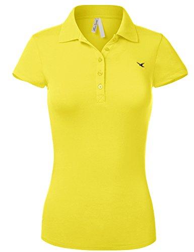 [Slim Fit Long Waist Short Sleeve Plain Polo Tee Shirts,102-Lemon,US L] (Model Womens Cap Sleeve T-shirt)