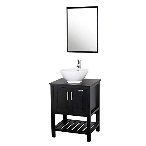 24' Vessel Stand - Eclife 24'' Modern Bathroom Vanity and Sink Combo Stand Cabinet and White Round Ceramic Vessel Sink with Overflow and Chrome Bathroom Solid Brass Faucet and Pop Up Drain A6B6
