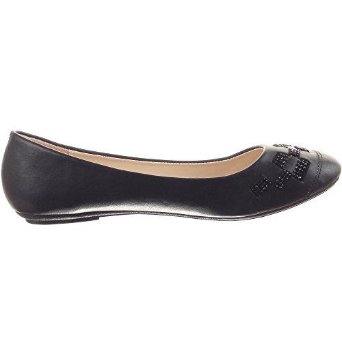 Sopily - Zapatillas de Moda Bailarinas Tobillo mujer acabado costura pespunte strass Talón Tacón ancho 1 CM - Negro