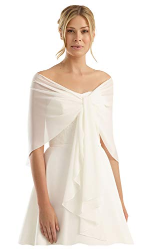 - Chiffon Bridal Evening Circular Stole Shawl Wrap - CIRCULAR Shape Prevents Sliding Off - Perfect for Wedding Prom Evening Homecoming Dress Ball Gown - IVORY