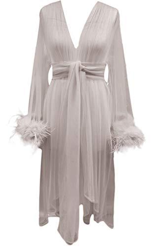 Faiokaver Feather Robe Sexy Tulle Illusion Bathrobe Lingerie Feather Long Wedding Scarf