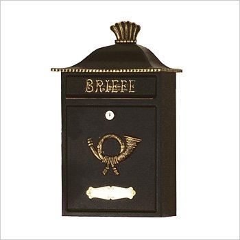 HEIBI (ハイビ) クラシカルポストB 郵便ポスト 壁掛けタイプ 鍵付き おしゃれ アンティーク 大型 北欧 ポスト 郵便受け ブラック B01JS7HQ9I 25920  ブラック/ゴールド