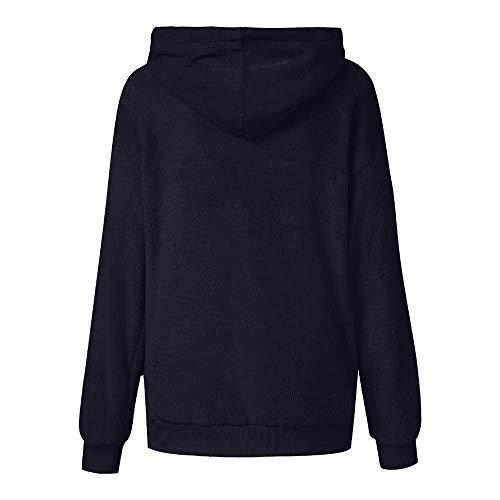 ZHRUI Womens Hairy Hooded Sudadera Abrigo Invierno cálido Lana Cremallera Bolsillo Wool Prendas de Abrigo Chaqueta (Color : Azul Oscuro, tamaño : Medium): ...