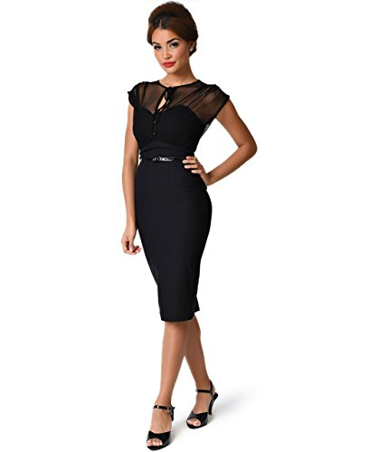 Stop Staring! 1940s Style Black Swiss Dot Mesh Twilight Wiggle Dress (Dot Swiss Dress)