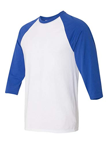 Hanes Unisex X-Temp Performance Baseball Tee, 42BA, L, White/Deep Royal