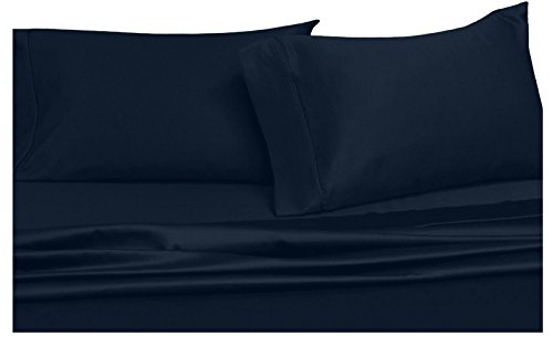 Solid Navy Full Size Sheets, 4PC Bed Sheet Set, 100% Cotton, 300 Thread Count, Sateen Solid, Deep Pocket, by Royal (Stripe 300 Thread)