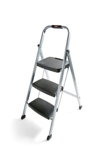 Rubbermaid RM-3W Folding 3-Step Steel Frame Stool with Hand Grip and Plastic Steps, 200-Pound Capacity, Silver Finish ()