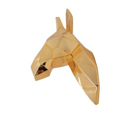 JJTOPJJ European Geometric 3D Electric-Plated Handmade Deer Head Animal Hanging Decorations Resins Fashion Bars Restaurants Rooms (Electric Gold-Plated)