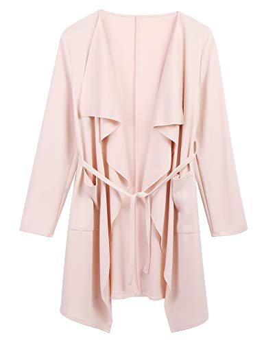 Dealwell Women Solid Thin Open Front Long Sleeve Waterfall Draped Trench Coat Cardigan (Light Pink, Large)