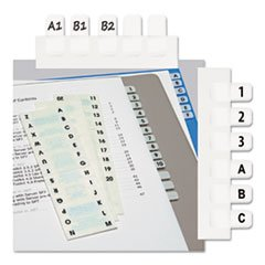 Redi-Tag 31005 Side-Mount Self-Stick Plastic A-Z Index Tabs 1 inch White 104/Pack -