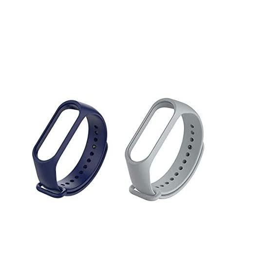 Liddu Wristband Band Straps for Xiaomi Mi 3 & Mi 4 Bands (Combo Pack, Pack of 2) (Navy Blue, Grey, Xiaomi Mi Band 3