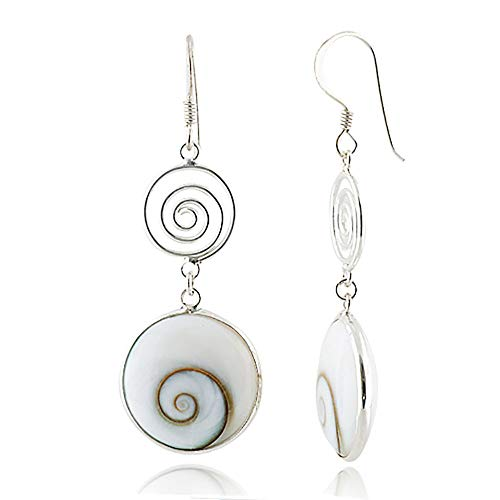 925 Sterling Silver Natural Shiva Eye Shell Double Round Dangle Drop Earrings -