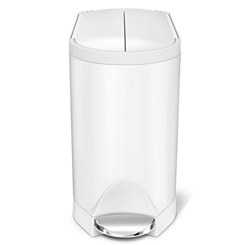 Step Wastebasket - simplehuman 10 Liter / 2.6 Gallon Butterfly Lid Bathroom Step Trash Can, White Steel