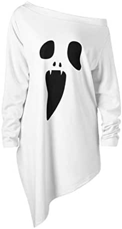 NOMUSING Halloween Shirts for Women Long Sleeve Ghost Print Sweatshirt Pullover Tops Blouse Fashion Slouchy T-Shirt