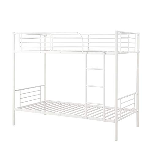 Bunk Bed Twin Over Twin,JULYFOX Modern Metal Steel Bed Frame 550 lb Heavy Duty With Stairs Side Guard Rails 10.8 inch Storage Space No Box Spring Needed 2 Twin Bed Platform For Kids Teens Adults-White