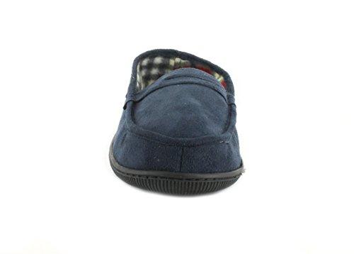 NUEVO Hombre/Caballeros Azul Marino/Azul Tartán Forrado Pantuflas Con Acolchada insock. - azul marino - GB Tallas 7-12