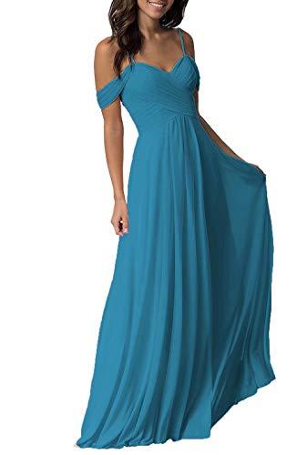 Miao Duo Ocean Blue Chiffon Bridesmaid Dress Long Formal Prom Dresses for ()